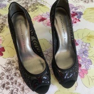 Adrianna papell black sequins heels